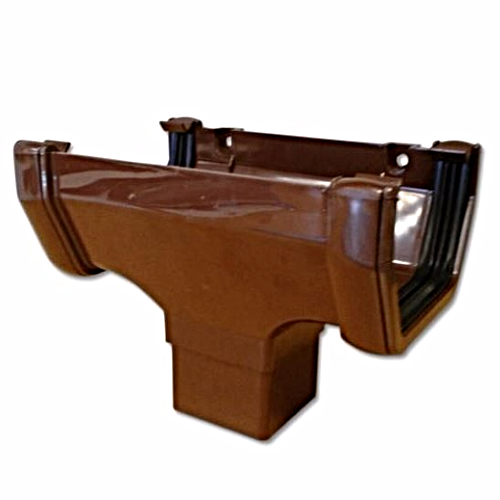 Square Gutter Running Outlet Floplast Brown ROS1