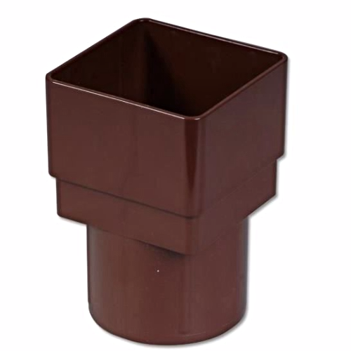 Square To Round Down-Pipe Adaptor Floplast Brown RDS2