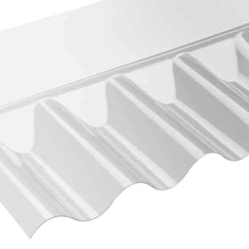 "Wall Flashing for use with 3"" Profile PVC Corrugated Roof Sheets"