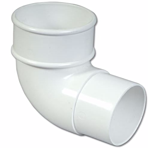 White Round Downpipe 90 Degree Pipe Bend 68mm RB1