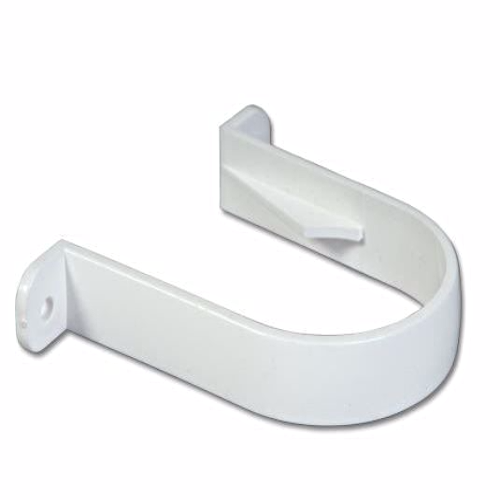 White Round Downpipe Clip 68mm RC1
