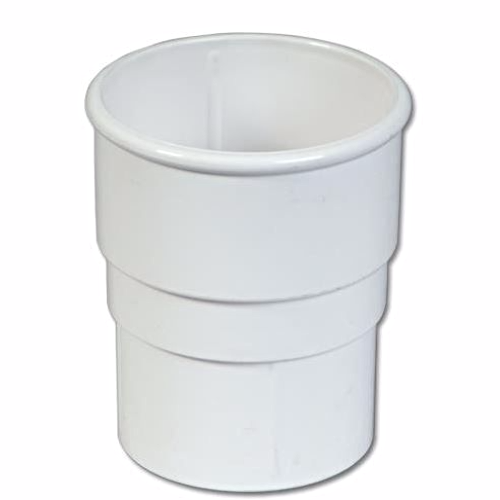 White Round Downpipe Connector 68mm Floplast RS1