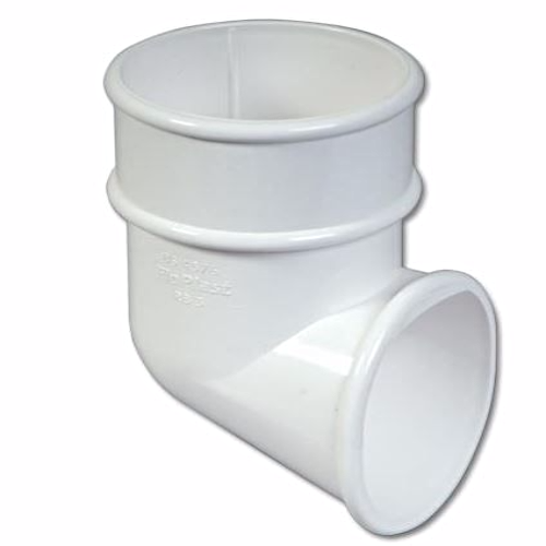 White Round Downpipe Shoe 68mm Floplast RB3
